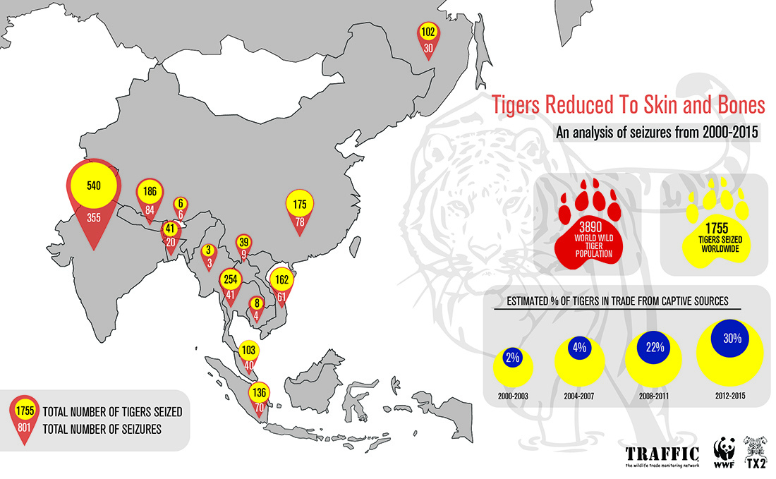 A map of tiger seizures per country between 2000–2015 © TRAFFIC