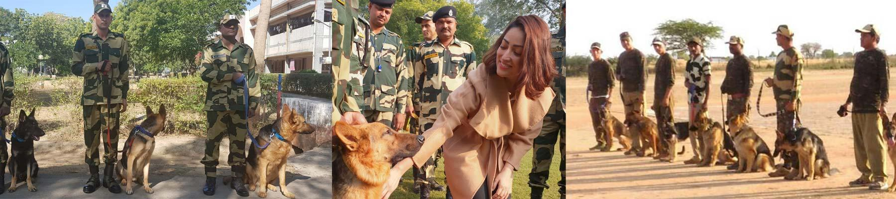 Yami Gautam meets one of the Super Sniffers (centre) © TRAFFIC