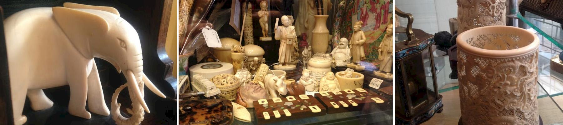 Various ivory products observed for sale in UK retailers © TRAFFIC