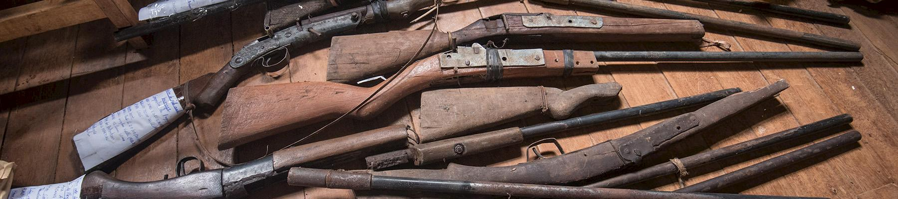 Homemade firearms seized from poachers in Dja National Park, Cameroon © A. Walmsley / TRAFFIC