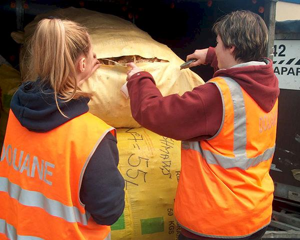 Officials inspect a shipment of dried shark fins at Brussels airport. Photo: Pol Meuleneire, GAD Zaventem
